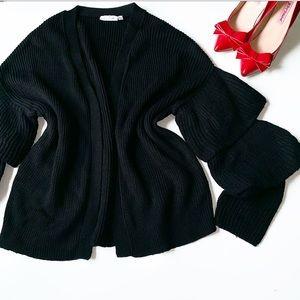 RD STYLE Black Knit Ruffle Sleeve Cardigan